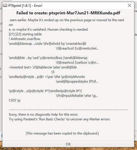 PTXprint error message