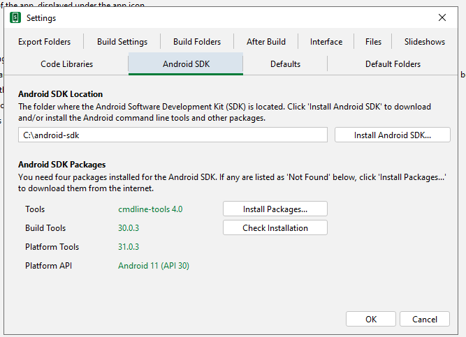 Android SDK setting