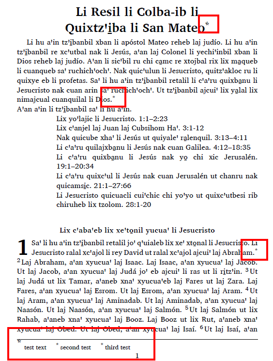 Single column with footnotes