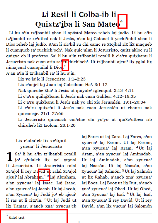 Two colomn with footnotes